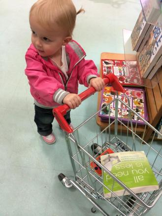 Adorable Rylee picking up some spring reading.